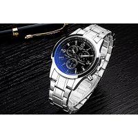 蓝光防水钢带手表男士时尚精钢商务男表 蓝光玻璃男士石英表