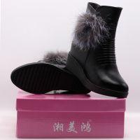 湘美鸿甜美狐毛圆头增高坡跟女士休闲棉鞋
