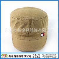 平顶帽帽子工厂定制 百搭简约户外防晒冲锋军人帽 纯棉光身短檐帽