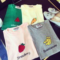 网店女装免费代理加盟2015春装新品可爱水果刺绣糖果宽松短袖T恤