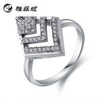 925纯银戒指 菱形微镶钻石纯银戒指 韩版时尚 速卖通货源