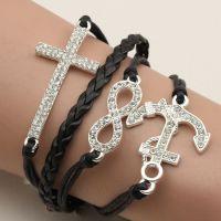 手工编织 欧美多层饰品复古时尚带钻十字架8字船锚皮绳 手链批发