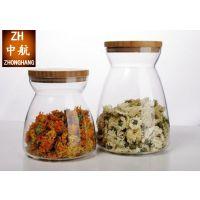厂家直销苔藓生态瓶景观瓶 竹木盖高硼硅玻璃家居储存密封罐小号