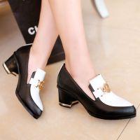 厂家直销 2015韩版真皮女鞋 女式秋季尖头金属粗跟中跟单鞋