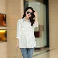 2015春秋新品衬衫 韩版宽松中袖女式外套 修身时尚纯白优雅衬衣女
