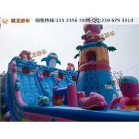 郑州藏龙游乐充气蹦床火爆销售中,2015新款猪猪侠造型的充气城堡