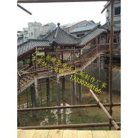 重庆哪里有仿古长廊修建公司 实木长廊造价 小青瓦廊架报价