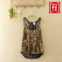 外贸原单韩版女蕾丝衫两件套夏季新款豹纹工字背心打底衫12F420