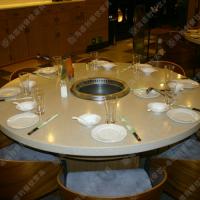 精品热卖 旋转小火锅桌子的价格 多人位大理石火锅桌 促销