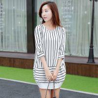 2015夏季新款 时尚女式雪纺衫连衣裙  韩版修身女式长袖雪纺衫