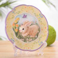欧式创意优质陶瓷浮雕手绘挂盘墙面装饰用品挂件黄兔紫兔
