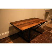 时尚创意铁艺实木家具 美式乡村客厅实木小茶几 复古做旧餐厅茶几