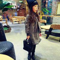 2014秋冬新款女童英伦格子纯棉裙套装儿童外套+短裙童套装批发