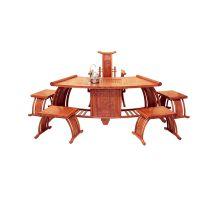 供应帝豪红木家具 花梨木家具价格 古典中式6件套扇形茶台