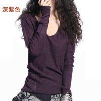 秋冬新款女装半卷边圆领羊绒衫长袖针织衫修身打底衫套头毛衣短款