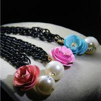 衣服配件项链夸张珍珠love玫瑰花朵短挂链 韩国饰品吊坠 韩版女