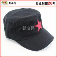 经典简洁大气帽子 时尚流行五星 刺绣 男帽 军帽 男式平顶帽