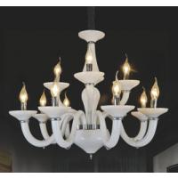 CVMA厂家直销欧式奢华蜡烛吊灯白炽灯 复式楼梯吊灯具灯饰客厅金色仿云石吊灯6964C-8+4A