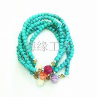 【热卖】5圈绿松石带玫瑰花手链批发 4mm 时尚热销潮流饰品
