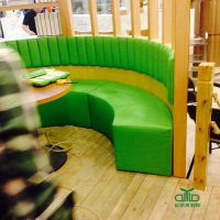 竖条靠背卡座沙发 特色弧形卡座定制餐饮家具工程厂家 深圳运达来家具