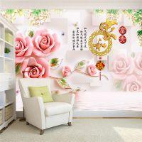 景灿大型3D无缝定制中式玉雕玫瑰花卉家和富贵壁纸 无纺布壁画 客厅卧室电视背景墙纸 厂家一件代发
