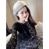 6度欧美2014秋冬新款韩国百搭时尚气质修身蕾丝打底衫上衣 E10421