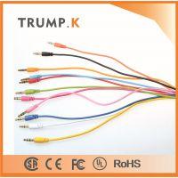 3.5音频线彩色小面条音频线公对公水晶对录线延长线aux车载