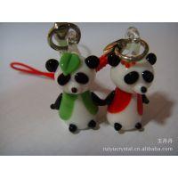 创意日本琉璃 迷你熊猫手机挂件 情侣手机链 达摩珠子手工琉璃