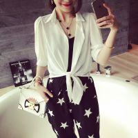 小银子2015夏装新款简约系带雪纺防晒衬衫X5215