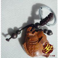 专业供应 花梨木雕创意家居挂饰 钥匙扣圈挂件招财进宝发财元宝鱼