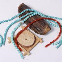 厂家批发供应高仿红珊瑚绿松石(人造加色非天然)散珠 佛珠配件
