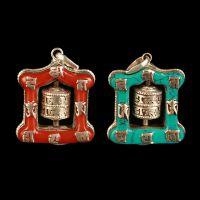 厂家热销尼泊尔 珊瑚 色镶绿松石纯铜项坠六字真言迷你转经筒吊坠