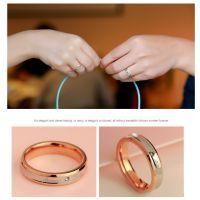 韩版18K玫瑰金典雅线条单钻戒指女韩国情侣彩金对戒食指指环饰品