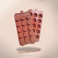 15连绽放中的玫瑰硅胶模具 巧克力模具