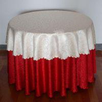 厂家直销酒店用品涤纶大红色勾花桌布台布多用布 盖布批发