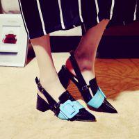 2015年夏季新款欧美大牌同款凉鞋 马蹄跟尖头中跟粗跟真皮女鞋