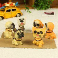 优沃创意家居饰品 树脂工艺品动物摆件 仿真狗模 6名犬小号摇头狗