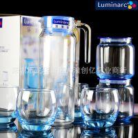 批发乐美雅玻璃水杯耐热冷水壶彩色水具套装蓝色密封瓶礼品套装