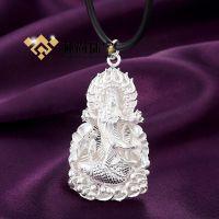 C012#纯银吊坠 立体雕刻观音像 高端技术 银饰项链 时尚韩版饰品