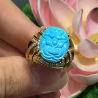 安华绿松石出品:真金镶嵌兽头戒指