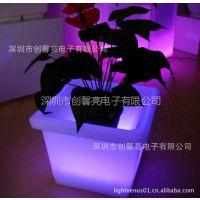 供应LED发光花盆 创意七彩花盆 PE塑料发光花盆 LED发光创意塑料花盆