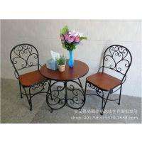 特价铁艺休闲桌椅 实木桌椅 咖啡户外餐厅休闲庭院阳台 全套批发