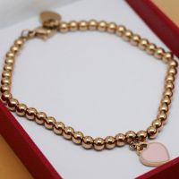 批发定做 时尚钛钢玫瑰金首饰 不锈钢心形圆珠手链