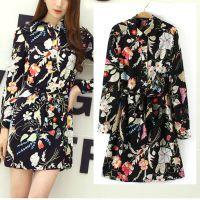 2015春季新款欧美女装手绘植物印花系带气质显瘦长袖连衣裙 LLMY