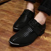 春季新品男鞋休闲皮鞋个性韩版英伦黑色发型师时装布鞋尖头男潮鞋