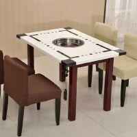 大理石火锅一体桌定做 大理石火锅一体桌椅组合 奇味火锅店专用一体桌