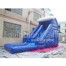 Blue Outdoor inflatable water slide with pool , Giant Inflatable Water Toys