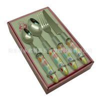 塑料柄刀叉餐具  不锈钢餐具  透明彩色印刷夾片柄餐具