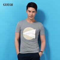 GUEQI 男装短袖时尚t恤批发 韩版几何图案上衣供应 棉麻男圆领T恤
