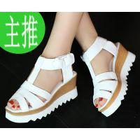 外贸新款夏季凉鞋真皮女鞋厚底罗马鞋韩版泡沫坡跟鞋